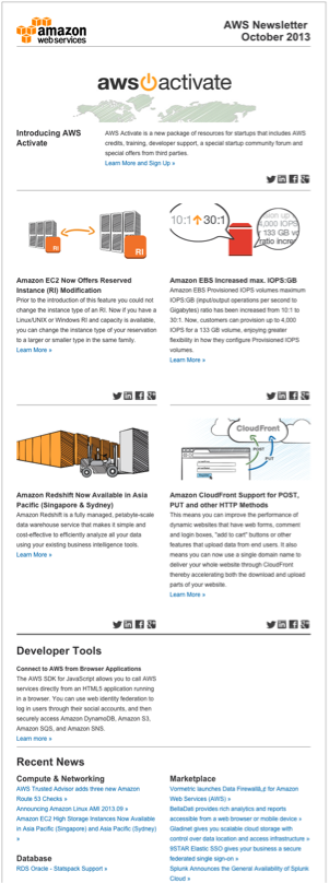 Newsletter de Amazon Web Services