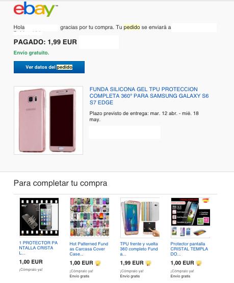 Ebay ejemplo confirmación de pedido