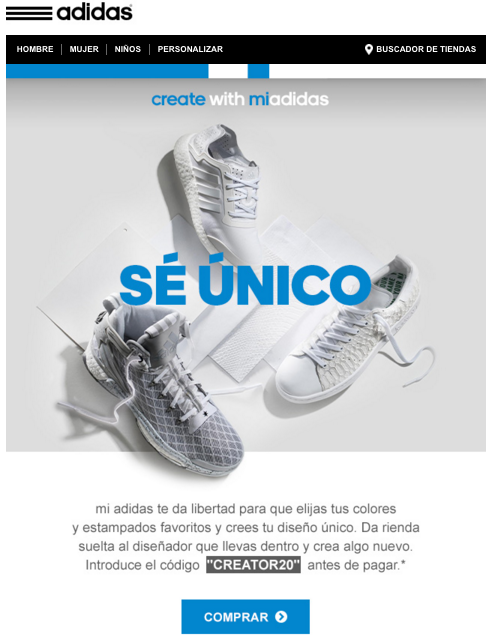 Call to action en email marketing adidas