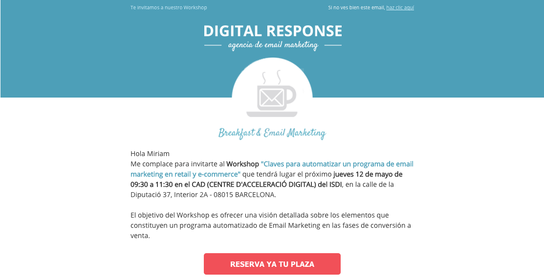 Call to action en email marketing evento Digital Response
