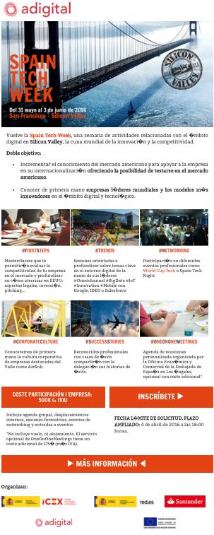 Adigital email reminder Spain Tech Week