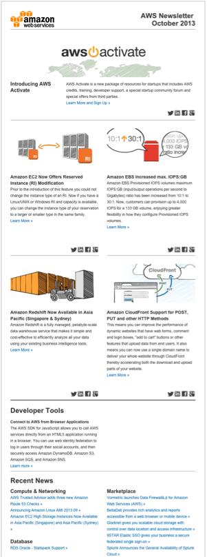 Newsletter de Amazon Web Services