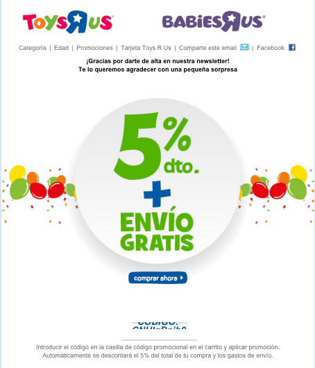 Ejemplo Welcome Email ToysRus