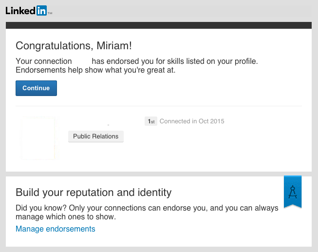 Email de notificación Linkedin