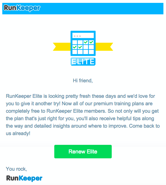 Ejemplo Email Marketing Runkeeper