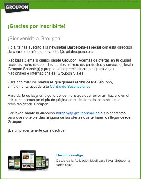 Email de Bienvenida Groupon